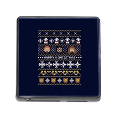 Merry Nerdmas! Ugly Christmas Blue Background Memory Card Reader (square)