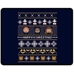 Merry Nerdmas! Ugly Christmas Blue Background Fleece Blanket (Medium)