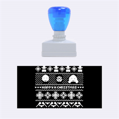 Merry Nerdmas! Ugly Christmas Blue Background Rubber Stamps (medium)