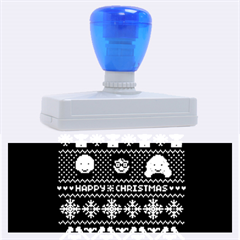 Merry Nerdmas! Ugly Christmas Blue Background Rubber Address Stamps (XL)