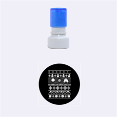 Merry Nerdmas! Ugly Christmas Blue Background Rubber Round Stamps (Small)