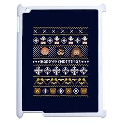 Merry Nerdmas! Ugly Christmas Blue Background Apple iPad 2 Case (White)