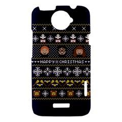 Merry Nerdmas! Ugly Christmas Blue Background HTC One X Hardshell Case