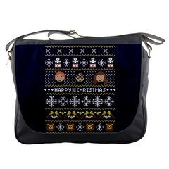 Merry Nerdmas! Ugly Christmas Blue Background Messenger Bags