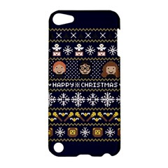 Merry Nerdmas! Ugly Christmas Blue Background Apple iPod Touch 5 Hardshell Case