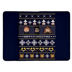 Merry Nerdmas! Ugly Christmas Blue Background Kindle Fire (1st Gen) Flip Case