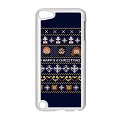 Merry Nerdmas! Ugly Christmas Blue Background Apple iPod Touch 5 Case (White)