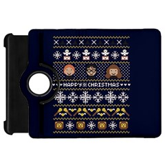 Merry Nerdmas! Ugly Christmas Blue Background Kindle Fire HD Flip 360 Case