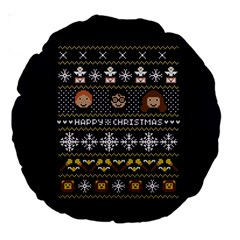 Merry Nerdmas! Ugly Christmas Blue Background Large 18  Premium Round Cushions