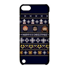 Merry Nerdmas! Ugly Christmas Blue Background Apple iPod Touch 5 Hardshell Case with Stand
