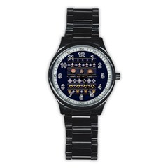 Merry Nerdmas! Ugly Christmas Blue Background Stainless Steel Round Watch