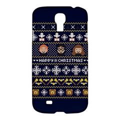 Merry Nerdmas! Ugly Christmas Blue Background Samsung Galaxy S4 I9500/i9505 Hardshell Case