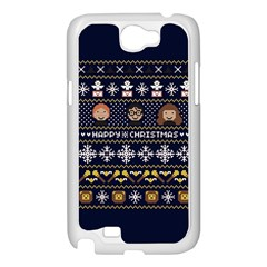 Merry Nerdmas! Ugly Christmas Blue Background Samsung Galaxy Note 2 Case (White)