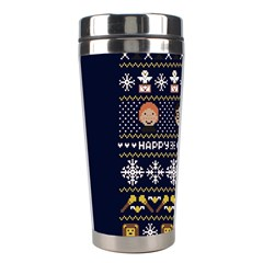 Merry Nerdmas! Ugly Christmas Blue Background Stainless Steel Travel Tumblers