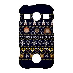 Merry Nerdmas! Ugly Christmas Blue Background Samsung Galaxy S7710 Xcover 2 Hardshell Case
