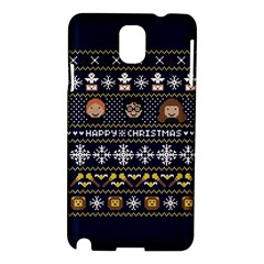 Merry Nerdmas! Ugly Christmas Blue Background Samsung Galaxy Note 3 N9005 Hardshell Case