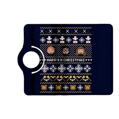 Merry Nerdmas! Ugly Christmas Blue Background Kindle Fire HD (2013) Flip 360 Case