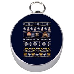 Merry Nerdmas! Ugly Christmas Blue Background Silver Compasses