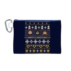 Merry Nerdmas! Ugly Christmas Blue Background Canvas Cosmetic Bag (M)