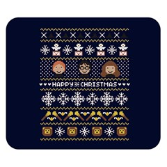 Merry Nerdmas! Ugly Christmas Blue Background Double Sided Flano Blanket (Small)