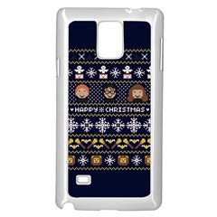 Merry Nerdmas! Ugly Christmas Blue Background Samsung Galaxy Note 4 Case (white)