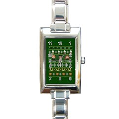 Merry Nerdmas! Ugly Christma Green Background Rectangle Italian Charm Watch