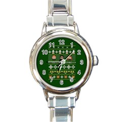 Merry Nerdmas! Ugly Christma Green Background Round Italian Charm Watch
