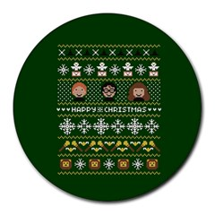 Merry Nerdmas! Ugly Christma Green Background Round Mousepads