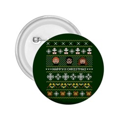 Merry Nerdmas! Ugly Christma Green Background 2.25  Buttons