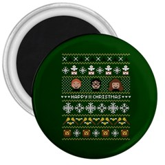 Merry Nerdmas! Ugly Christma Green Background 3  Magnets