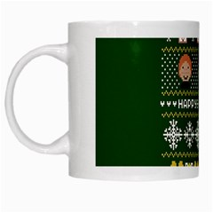 Merry Nerdmas! Ugly Christma Green Background White Mugs