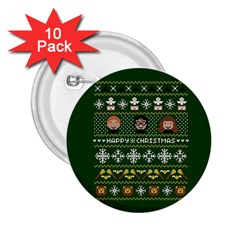 Merry Nerdmas! Ugly Christma Green Background 2.25  Buttons (10 pack)