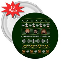 Merry Nerdmas! Ugly Christma Green Background 3  Buttons (10 Pack)