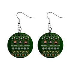 Merry Nerdmas! Ugly Christma Green Background Mini Button Earrings