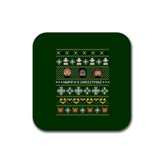 Merry Nerdmas! Ugly Christma Green Background Rubber Square Coaster (4 pack)