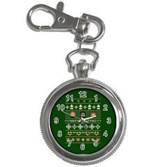 Merry Nerdmas! Ugly Christma Green Background Key Chain Watches