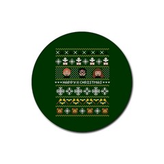 Merry Nerdmas! Ugly Christma Green Background Rubber Coaster (round)