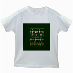 Merry Nerdmas! Ugly Christma Green Background Kids White T-Shirts