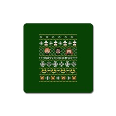 Merry Nerdmas! Ugly Christma Green Background Square Magnet