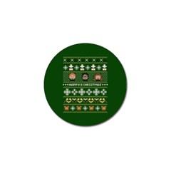Merry Nerdmas! Ugly Christma Green Background Golf Ball Marker (4 Pack)