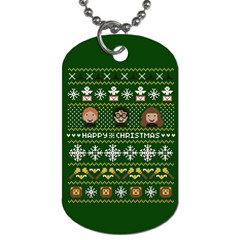 Merry Nerdmas! Ugly Christma Green Background Dog Tag (two Sides)