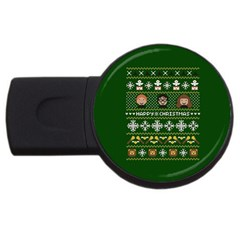 Merry Nerdmas! Ugly Christma Green Background Usb Flash Drive Round (2 Gb)