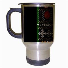 Merry Nerdmas! Ugly Christma Green Background Travel Mug (Silver Gray)