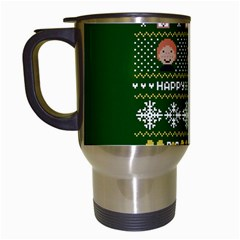 Merry Nerdmas! Ugly Christma Green Background Travel Mugs (white)