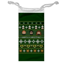 Merry Nerdmas! Ugly Christma Green Background Jewelry Bags