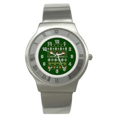 Merry Nerdmas! Ugly Christma Green Background Stainless Steel Watch