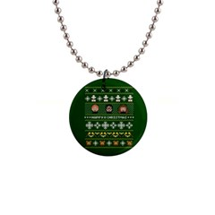 Merry Nerdmas! Ugly Christma Green Background Button Necklaces