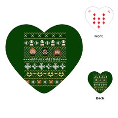 Merry Nerdmas! Ugly Christma Green Background Playing Cards (Heart)