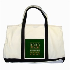 Merry Nerdmas! Ugly Christma Green Background Two Tone Tote Bag