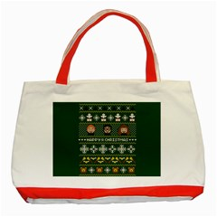 Merry Nerdmas! Ugly Christma Green Background Classic Tote Bag (Red)